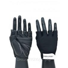 Перчатки для фитнеса с фиксатором unisex кожа черные Q12