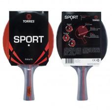Ракетка для н/т TORRES Sport 1*, арт.TT0005, для любителей, накладка 1,5 мм, конич. ручка