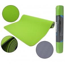 """Коврик для йоги """"TORRES Comfort 4"""" арт.YL10074, TPE 4 мм, нескользящее покрытие, зелено-серый"""