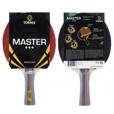 Ракетка для н/т TORRES Master 3*, арт.TT0007, для тренировок, накладка 2,0 мм, конич. ручка